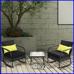 3PC Rocking Chair Bistro Set Rattan Wicker Outdoor Patio FurnitureSet WithCushion