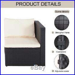 3PC Sofa Set Outdoor Patio Furniture Sectional Black Rattan Wicker Chair