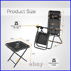 3PC Zero Gravity Folding Adjustable Patio Beach Lounge Chairs With Table Black