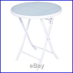 3 PCS Folding Bistro Table Chairs Set Garden Backyard Patio Furniture White New