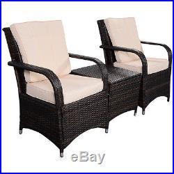 3 PCS Outdoor Patio PE Rattan Wicker Furniture Set Seat Cushioned Mix Brown