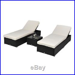 3 PCS Outdoor Rattan Wicker Chaise Lounge Sofa Couch Patio Furniture Set Cushion