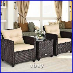 3 PCS Patio Rattan Furniture Set Conversation Set Cushioned Sofa Garden Deck