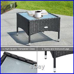 3 PCS Patio Wicker Rattan Furniture Set Coffee Table & 2 Rattan Chair WithCushion