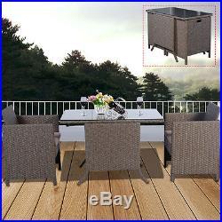 3 PCS Piece Cushioned Armrest Outdoor Wicker Patio Set Garden Sofa Light Brown