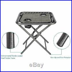 3 PCS Zero Gravity Chair Patio Chaise Folding Lounge Table Chair Sets Recliner
