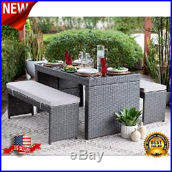 3 PC Outdoor Patio Dining Set 2 Benches & Dining Table Wicker Rattan Furniture
