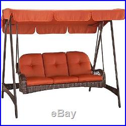 3-Person Metal Frame Wicker Cushioned Outdoor Patio Woven Swing with Canopy, Brown