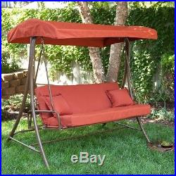3-Person New Outdoor Porch Swing Sofa Bed with Canopy in Terracotta