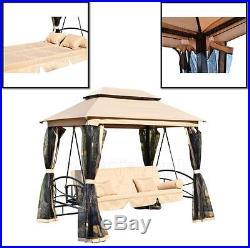 3 Person Outdoor Patio Swing Canopy Gazebo Daybed Porch Hammock Garden  Furniture
