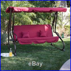 3 Person Outdoor Swing WithCanopy Seat Patio Hammock Furniture Bench Yard Loveseat