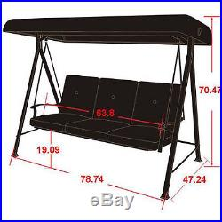 3 Person Patio Swing Canopy Outdoor Chair Hammock Furniture Bed Cushion Porch