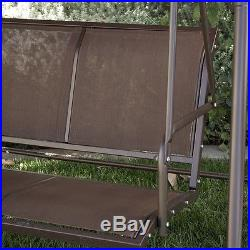 3-Person Patio Swing Outdoor Canopy Awning Yard Furniture Hammock Steel -Brown