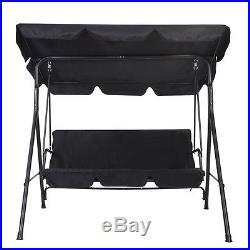 3 Person Swing Outdoor Patio Canopy Awning Yard Furniture Hammock Steel Black