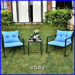 3 Pieces Outdoor Patio Wicker Rocking Sets Bistro Set Rattan Chair with Cushions