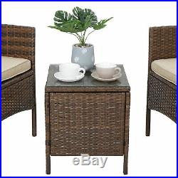 3 Pieces PE Rattan Wicker Chairs with Table Outdoor Patio Porch Furniture Sets