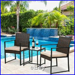 3 Pieces Patio Set Outdoor Patio Furniture Sets Wicker Bistro Set Chair Brown