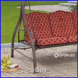3-Seat Cushion Swing Canopy Steel Hammock Outdoor Garden Patio Yard Relax RED