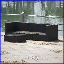 3 Seat Outdoor Rattan Wicker 4PCS Set Garden Patio Furniture Lawn Sofa Cushioned