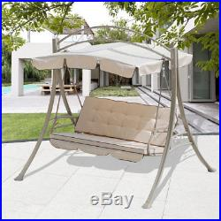 3 Seats Hammock Swing Canopy Deluxe Chair Outdoor Patio Furniture Beige NEW