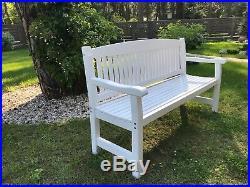 3-Sitzer Weiss Sofa Gartenbank, Holzbank, Sitzbank, Bänke Massivholz aus Kiefer