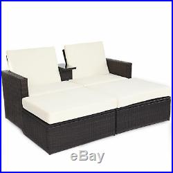 3pc Outdoor Rattan Wicker Patio Pool Chaise Lounge Chair Table Bed Furniture Set