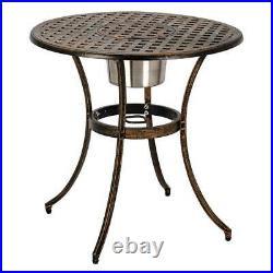 3pc Patio Bistro Furniture Set Outdoor Garden Iron & Table Chair /w Ice Bucket