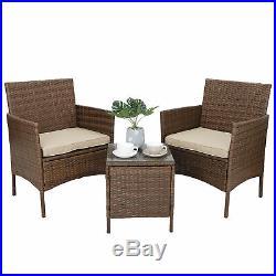 3pcs Outdoor Patio Bistro Set PE Rattan Wicker Furniture Conversation WithCushion