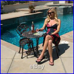 3pcs Patio Furniture Cast Aluminum Bistro Set Table & Chair Outdoor Antique NEW