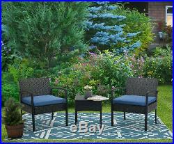 3pcs Wicker Rattan Patio Outdoor Furniture Conversation Sofa Bistro Set Garden