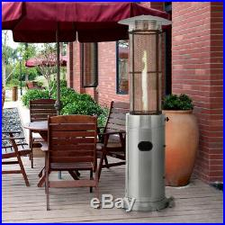 41000 BTU Patio Heaters Stainless Steel Round Propane Glass Tube Flame WithWheels