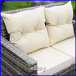 4PCS Outdoor Patio Rattan Wicker Furniture Set Loveseat Cushioned Garden Pool