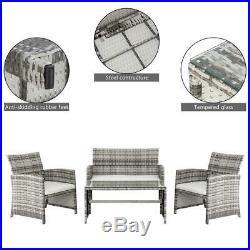 4PCS Outdoor Patio Rattan Wicker Furniture Set Loveseat Wicker /w Cushioned
