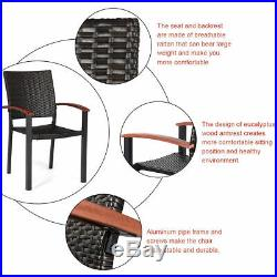 4PCS Patio Rattan Dining Chairs Armchair Stackable Wicker Outdoor Aluminum Frame