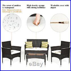 4PCS Patio Rattan Wicker Furniture Set Cushioned Chair Glass Table Top Garden