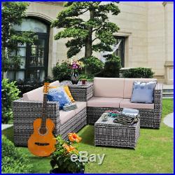 4PCS Patio Rattan Wicker Furniture Set Sofa Loveseat Cushioned WithStorage Box