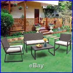 4PCS Rattan Patio Furniture Set Wicker Cushioned Seat Sofa Garden Lawn Sofa