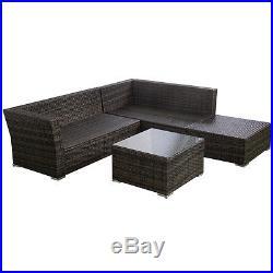 4PCS Wicker Cushioned Patio Rattan Furniture Set Sofa 5 Seat Garden Lawn New