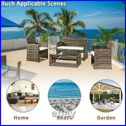 4PC Outdoor Patio PE Rattan Wicker Table Set Sofa Furniture Mix Grey with Cushion