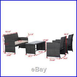 4PC Outdoor Rattan Wicker Sofa Patio Furniture Set Cushioned Seat Garden Deck