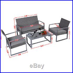 4PC Patio Furniture Set Cushioned Outdoor Wicker Rattan Garden Lawn Sofa