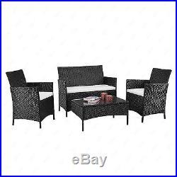 4PC Patio Rattan Wicker Chair Sofa Table Set Patio Garden Furniture with Cushion