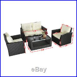 4PC Rattan Sofa Furniture Set Patio Garden Lawn Cushioned Seat Gray Wicker New