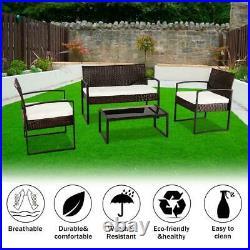 4Pcs Rattan Garden Wicker Furniture Set Patio Outdoor Table Chairs Sofa Lawn