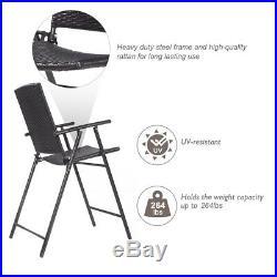 4 PCS Folding Rattan Wicker Bar Stool Chair Indoor &Outdoor Furniture Brown New