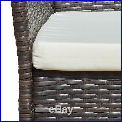 4 PCS Outdoor Patio PE Rattan Wicker Table Shelf Sofa Furniture Set with Cushion