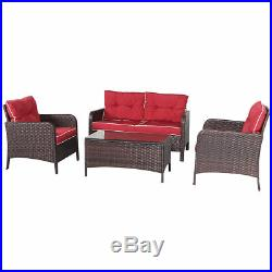 4 PCS Outdoor Patio Rattan Wicker Furniture Set Sofa Loveseat WithRed Cushion