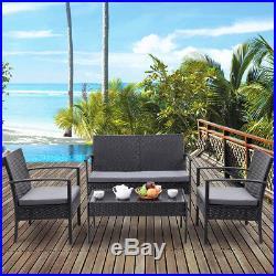 4 PCS Outdoor Patio Rattan Wicker Furniture Set Table Sofa Cushioned Deck Black