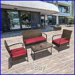 4 PCS Outdoor Patio Wicker Sofa Set Rattan Sectional Furniture Garden Cushioned