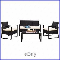 4 PCS Outdoor Rattan Wicker Patio Furniture Set Sofa Table Cushioned Lawn Garden